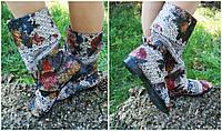 Полусапожки с открытым носком жатка+макраме. Подошва: черная и белая. Размеры: 36-42 код 4491О