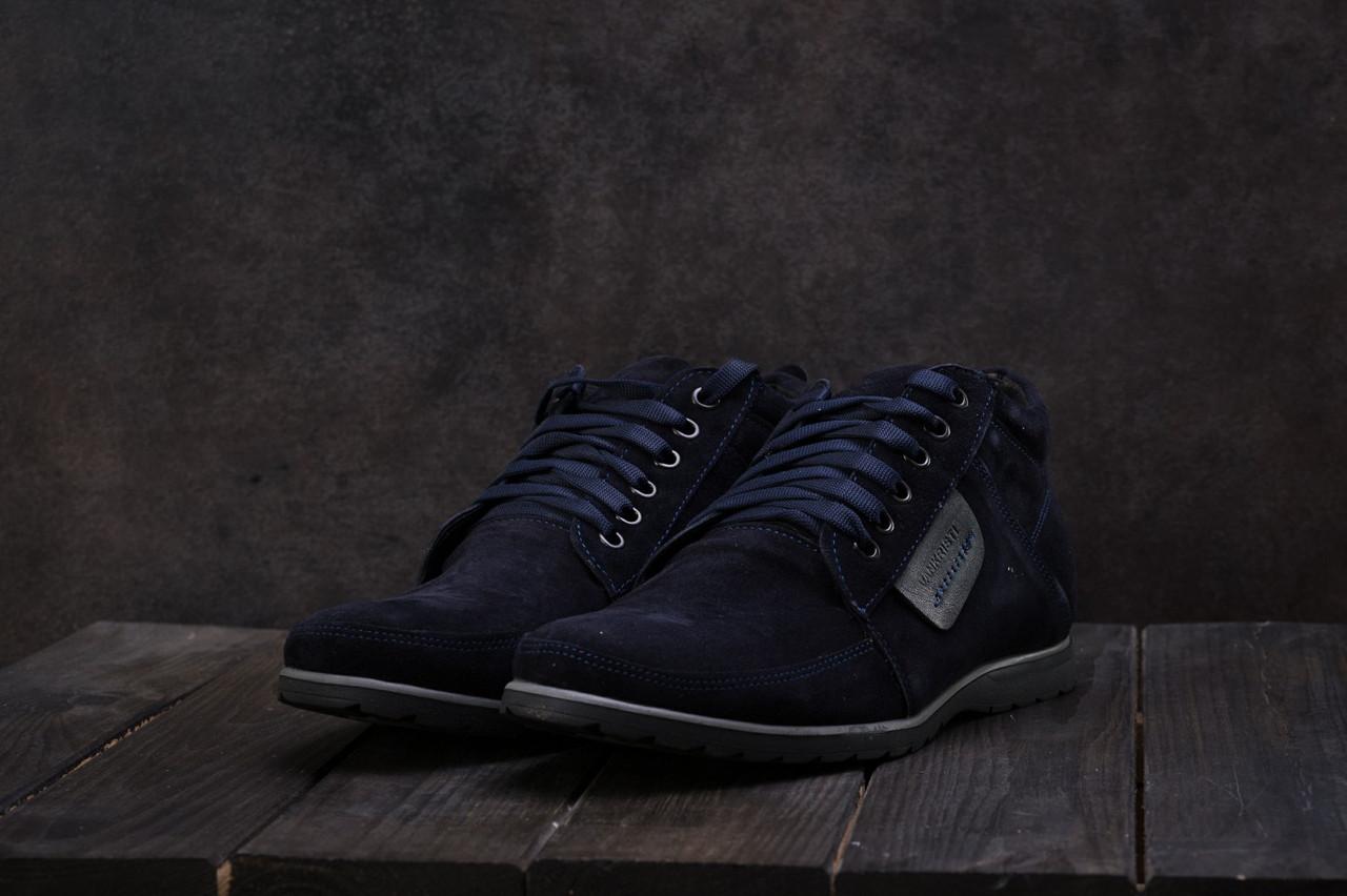 Мужские ботинки VanKristi зимние замшевые классика удобные повседневные на шнурках в синем цвете, ТОП-реплика