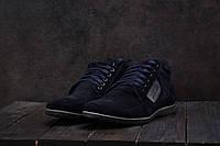 Мужские ботинки VanKristi зимние замшевые классика удобные повседневные на шнурках в синем цвете, ТОП-реплика, фото 1