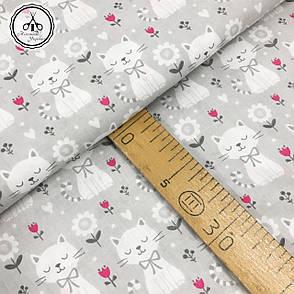 """Польская хлопковая ткань """"кошки с цветочками на сером"""", фото 2"""
