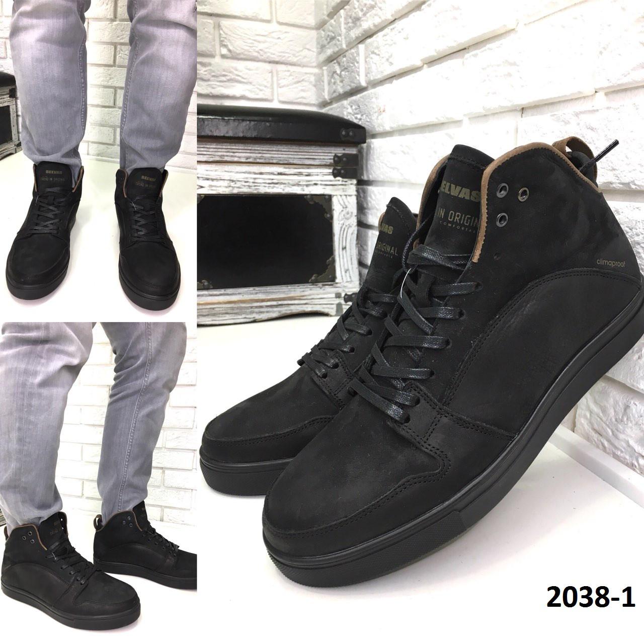 Мужские кожаные зимние ботинки черные