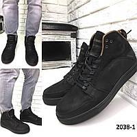 Мужские кожаные зимние ботинки черные, фото 1