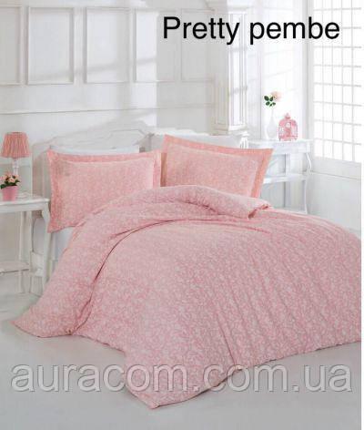 Постельный комплект, сатин-страйп, евро размер,  Altinbasak Pretty pink