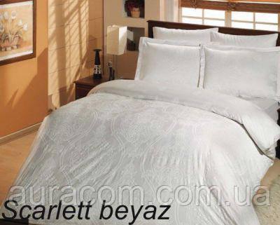 Постельный комплект,евро размер, сатин-страйп,  Altinbasak scarlet beyaz
