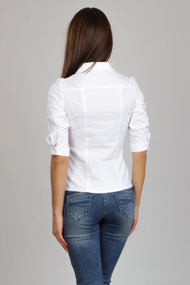 Белая хлопковая деловая блуза, воротник - рубашечный,  Р101