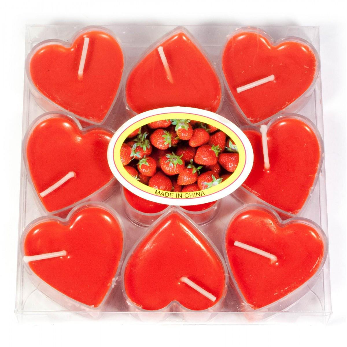 Свечи чайные Сердечки красные набор 9 шт