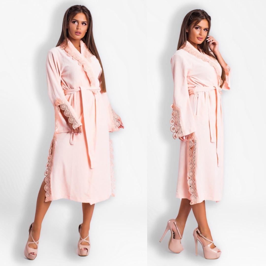 4887ec282e792 Шикарный велюровый халат с кружевами 42-48, цена 840 грн., купить в Одессе  — Prom.ua (ID#773436310)