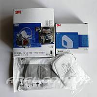 3M 6200++ Напівмаска в комплекті з фільтрами, передфільтрами та тримачами передфільтрів, фото 1