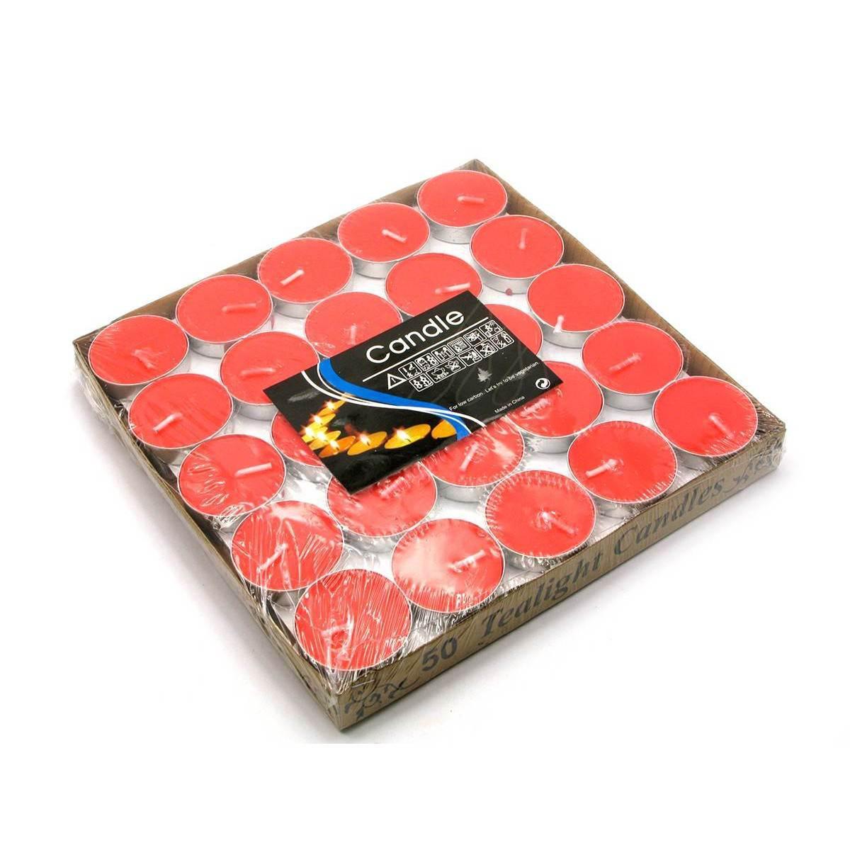 Свечи чайные красные набор 50 шт