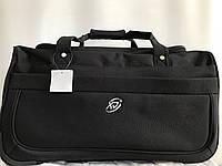 Маленькая дорожная сумка на колесах прочная черная с выдвижной телескопической ручкой