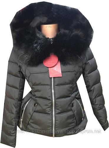 Пуховик женский с капюшоном мех (зима)