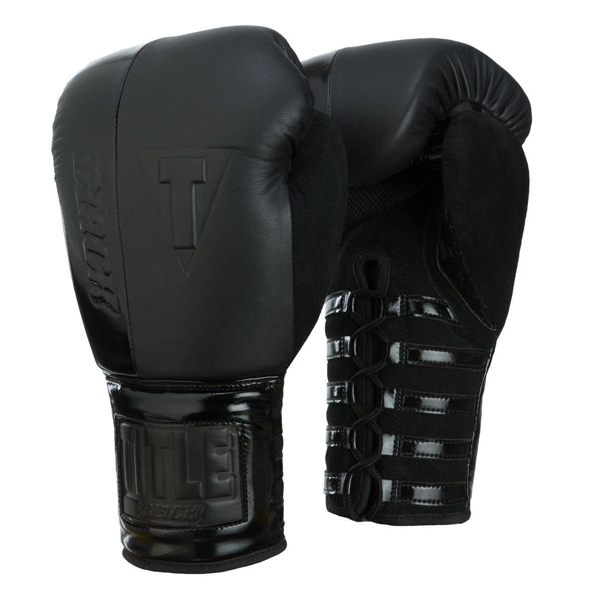 Боксерські рукавички TITLE BLACK Blast Lace Training