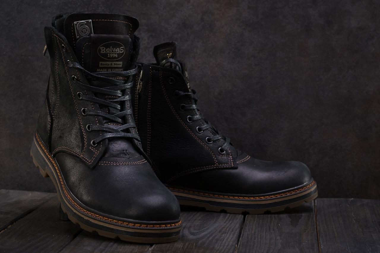 4f020009 Ботинки мужские Belvas зимние стильные высокие молодежные прошиты  натуральная кожа (черные), ТОП-