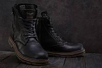 Ботинки мужские Belvas зимние стильные высокие молодежные прошиты  натуральная кожа (черные), ТОП-реплика, фото 1