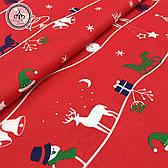 """Польская хлопковая ткань """"олени, снеговики с полосками на красном"""""""