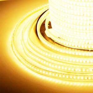 Светодиодная лента 3014-120 220В IP68, герметичная, теплая