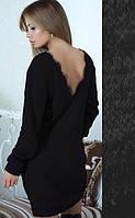Теплое платье средней длины на осень свободного кроя с длинными рукавами ангора на спине вырез черное