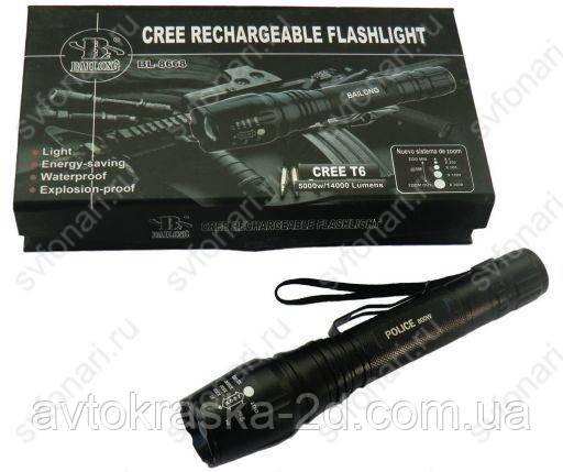 Аккумуляторный, сверхяркий фонарь BAILONG BL-8668 Cree T6 ZOOM (BL-777-T6)