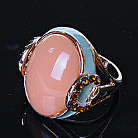 Перстень пышный овал эмаль бежевый р-р 18-20