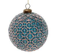 Елочный шар 10 см, цвет - королевский синий, набор 6 шт