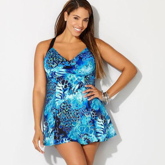 Купальник Сдельный.  Большие размеры.  Платье голубое.