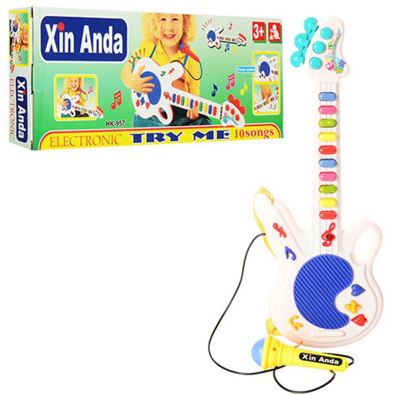Гітара дитяча 957 мікрофон, музика, в коробці, 29 см