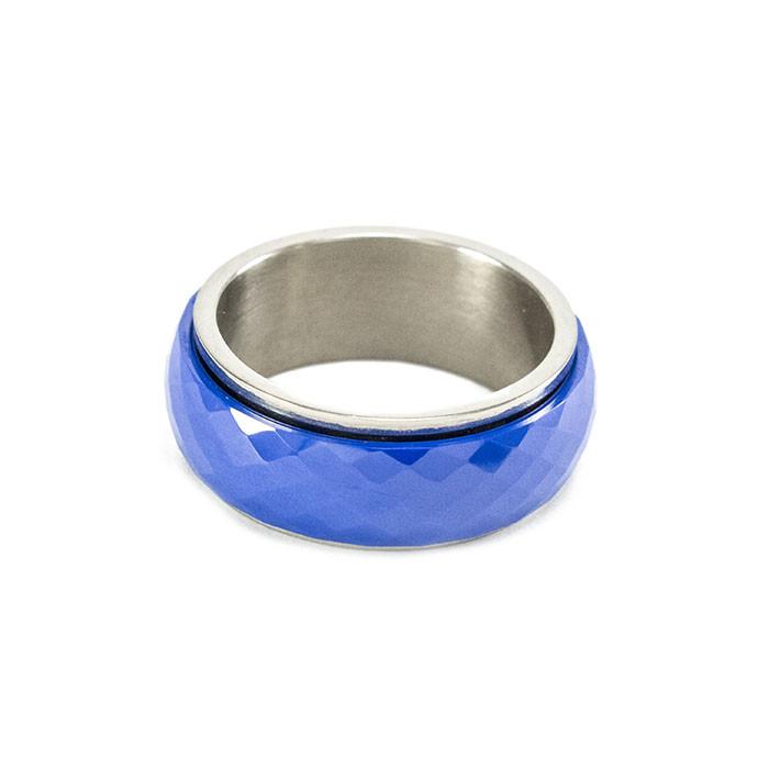 Кольцо вольфрамовое со стальной основой синее Арт. RN002WF (18)