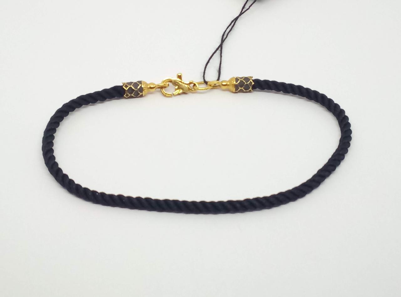 Браслет из текстиля с серебряными вставками. Артикул  5546\3-ЗЧШП 18,5