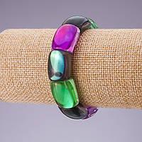 Браслет Опаловое стекло звено разноцветное 21х15мм на резинке обхват 18.5см