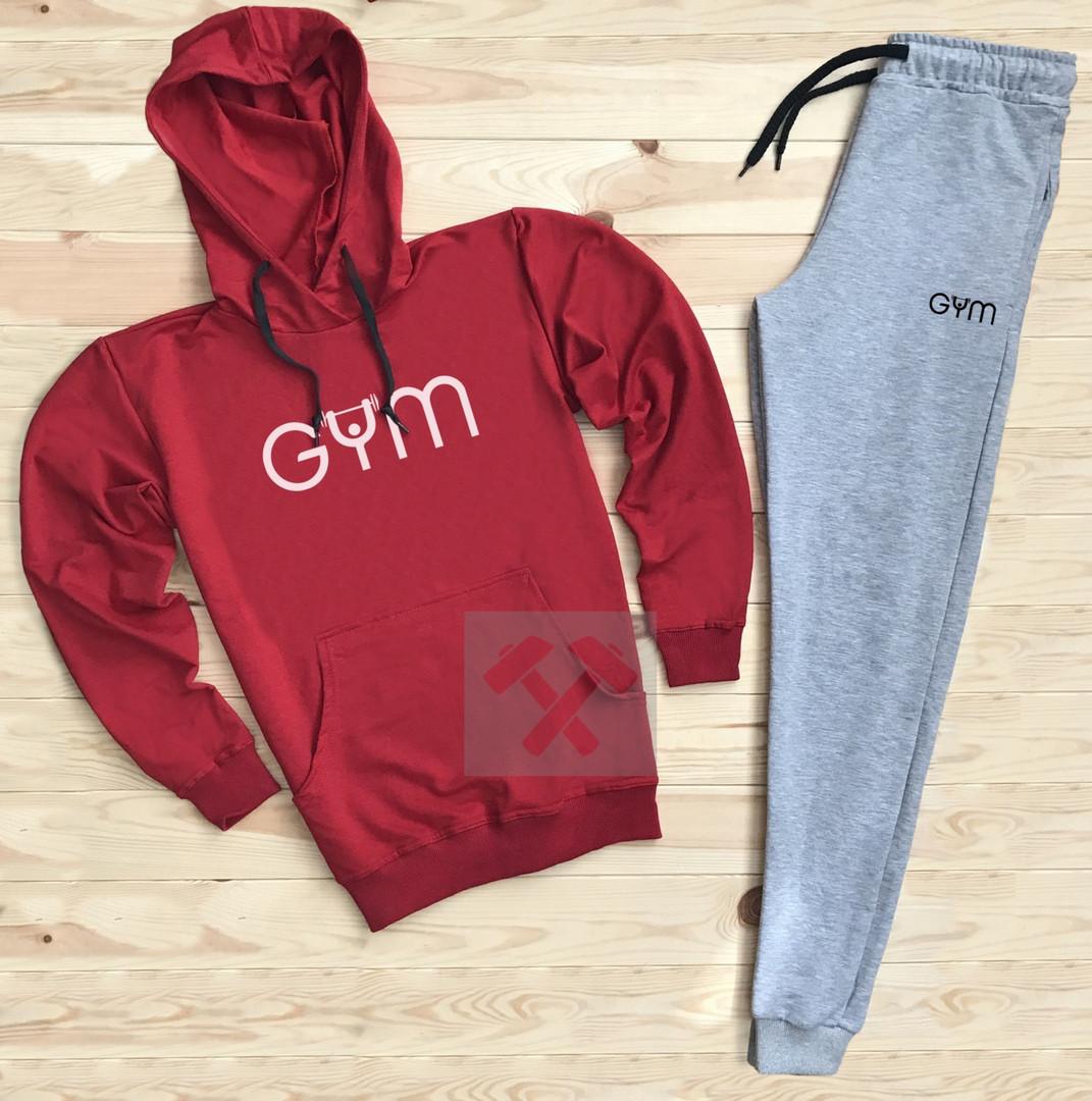 Костюм спортивный GYM красно-серый топ реплика