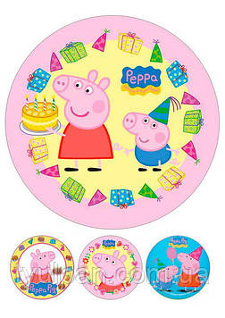 Вафельная картинка на торт пеппа