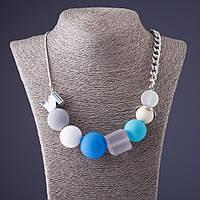 Ожерелье Голубая Пудра на панцирной цепи L-60см