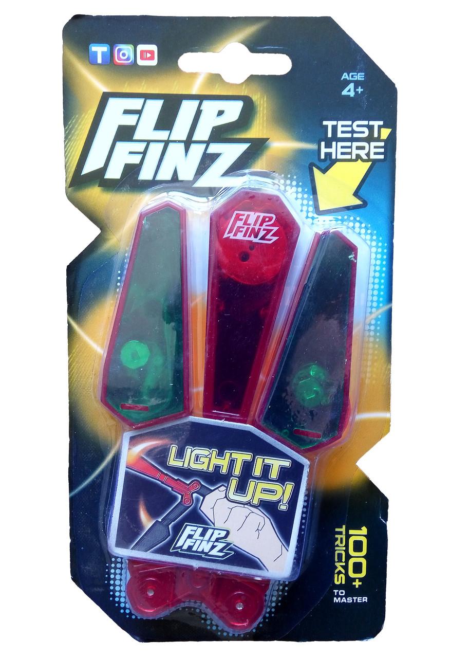 🔝 Игрушечный нож бабочка, Flip Finz (Флип Финз), светящийся - красный/зеленый, с доставкой по Киеву и Украине | 🎁%🚚