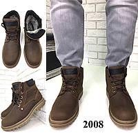 """Мужские кожаные """"crazy horse"""" зимние ботинки коричневые, фото 1"""
