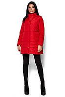 Красное демисезонное стеганое пальто