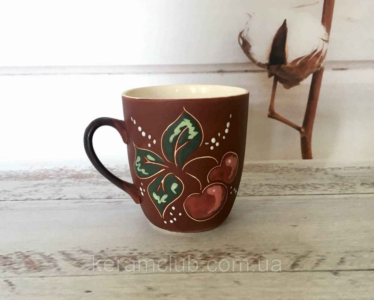 Керамическая чашка Вишенка