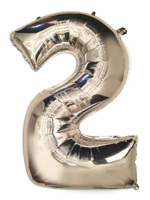 Фольгований куля - цифра 2 срібло 102 см, Flexmetal Іспанія