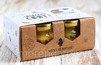 """Подарочный набор с мёдом """"Крафт"""", 4 баночки по 250 мл"""