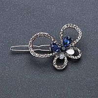 Заколка для волос Бабочка белые и синие стразы кристаллы