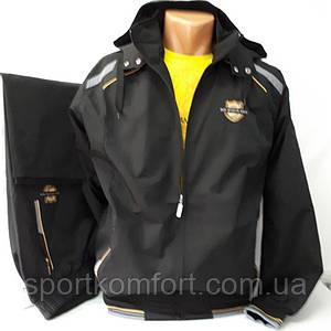 Мужской прогулочный спортивный костюм Соккер из плащевой ткани,  чёрный.