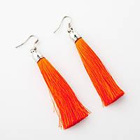 Сережки Кисті Оранж L - 8см колір металу срібло