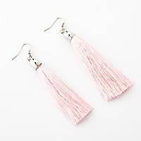 """Сережки Кисті Рожевий пудровий L - 8см колір металу """"срібло"""""""