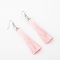 """Сережки Кисті Рожевий L - 8см колір металу """"срібло"""""""