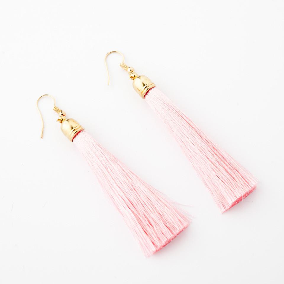 """Сережки Кисті Рожевий L - 8см колір металу """"золото"""""""