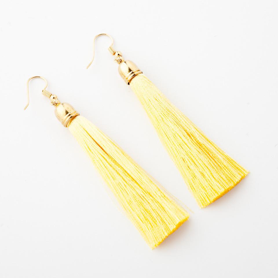 """Сережки Кисті ванільний крем L - 8см колір металу """"золото"""""""