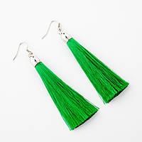 """Сережки Кисті Зелений L - 8см колір металу """"срібло"""""""