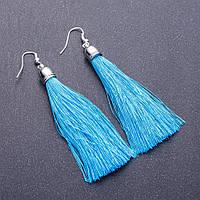 """Сережки Кисті блакитний L-8см L - 7см """"срібло"""""""