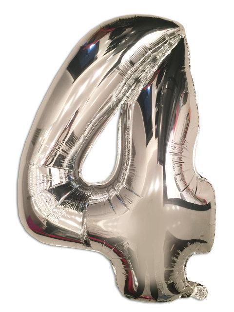 Фольгированный шар - цифра 4 серебро 102 см, Flexmetal Испания