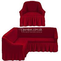 Чехол на угловой диван + кресло Karven бордового цвета