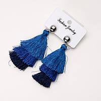 """Сережки Кисті """"Сальса"""" сині L-7,5 см"""